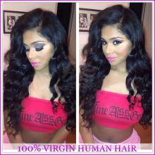 Mode pas cher 100% vierge brésilienne de cheveux humains pleine dentelle de soie haut perruques de dentelle pleine