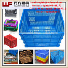 2017 Fruit Vegetable crate plastic injection mold making in China Injection plastic mesh vegetable crate mould in Huangyan