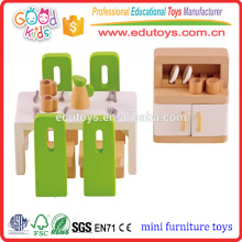 Мини-размер Кукольный домик Мебель для столовой Play Set, Детская ролевая игра 22pc Деревянная мебель Play Set