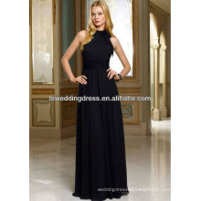 HB2103 Black very sexy cheap gathered chiffon top halter A-line full length long high neck bridesmaid dress