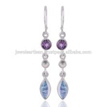 Piedra preciosa encantadora del arco iris y joyería de plata sólida del pendiente de la piedra preciosa 925