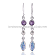 Lovely Rainbow Moonstone et Multi Gemstone 925 Solid Silver Earring Jewelry