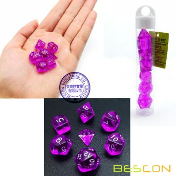 Bescon Mini Translucide Polyédrique RPG Dice Set 10MM, Petit jeu de rôle RPG Dice Set D4-D20 en Tube, Violet Transparent