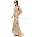 Nach Maß sexy Mädchen formale Party Kleid Kurzarm Gold Pailletten Meerjungfrau Abendkleid 2017