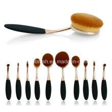 2016 Juego de cepillo de maquillaje Oval de venta caliente 10 PCS Juego de cepillo cosméticos de cepillo de dientes de oro de Oro