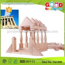 EZ1089 110pcs Custom 3 Trays Kids Natural Wooden Block
