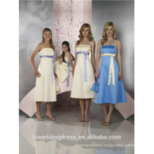 HB2126 Detachable spaghetti strap plain princess line with ivory sash A-line knee length zipper back blue satin bridesmaid dress