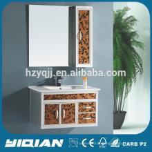 Armário de banheiro em alumínio com armário lateral com armário lateral e espelho