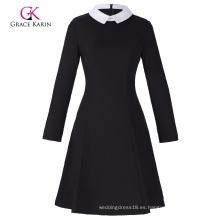 Grace Karin Mujeres con estilo y ajuste delgado manga larga contraste color muñeca collar negro A-Line Dress CL010470-1