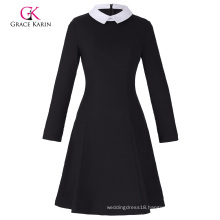Grace Karin Women's Stylish & Slim Fit Long Sleeve Contrast Color Doll Collar Black A-Line Dress CL010470-1