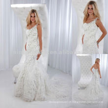 Um ombro Sweetheart decote com vestido de casamento de pena de flor