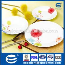Productos para el hogar de seguridad alimentaria sencilla placa de cerámica decorada placa de porcelana barata