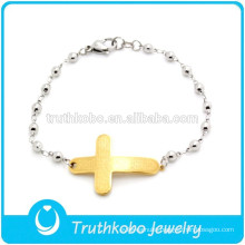 TKB-B0087 Wholesale Stainless Steel Rosary Bead Sideways Cross Bracelet for Womens