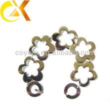stainless steel jewelry interlocking chain link flower bracelet for lovely girl