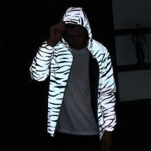 Print fashion hip hop reflective hoodie jacket