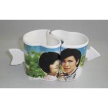 Haonai Taza de cerámica de los pares de la forma encantadora del corazón