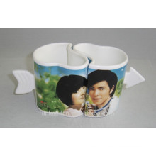 Haonai Lovely heart shape ceramic couple mug