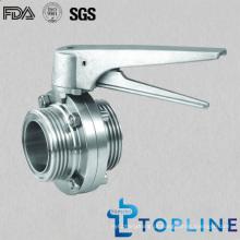 Válvula de borboleta sanitária de aço inoxidável (com alça de aço inoxidável Multi-posição)