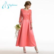 Satinado encaje una línea de manga larga madre de los vestidos de novia