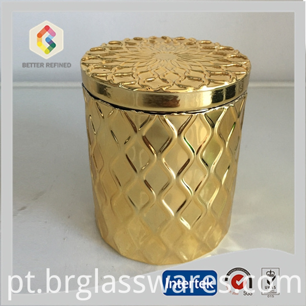 Gold Airtight Glass Candle Jar With Lid