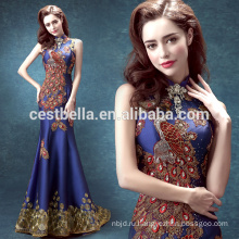 Темно-синий атласная бисером вечернее платье женщины bodycon платье роскошные платья блесток Русалка женщина вечернее платье