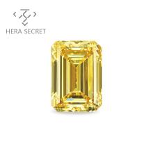 ForeverFlame fancy yellow Emerald Cut diamond CVD CZ Moissanite