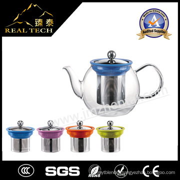 Personalized Glass Flower Tea Pot with Stainless Steel Strainer