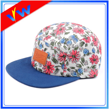 Suede Brim Floral Leather Label 5 Panel Cap