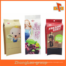 Customized heat seal printed brown kraft paper bag for plum packaging with round hole