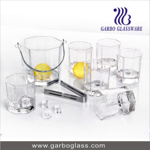 7PCS Summer Ice Bucket Set with 6PCS Glass Tumbler
