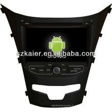 Android System lecteur dvd de voiture pour 2014 Ssangyong Korando avec GPS, Bluetooth, 3G, ipod, jeux, double zone, contrôle du volant