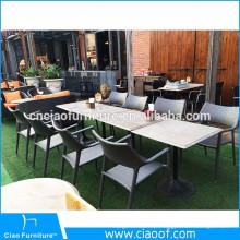 Venda quente de lazer mesa de jardim de vime cinza e cadeiras