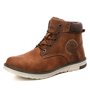 Botas de invierno para hombres ocasionales Zapatos cálidos de piel