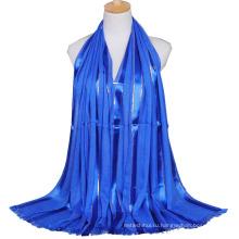 2017 новое прибытие осень зима леди хлопок простой блеск мусульманский хиджаб шарфы, шали с кистями и золотой проволокой