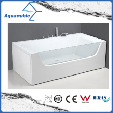 ABS Rectangle Whirlpool Massage Bathtub in White (AB0829)