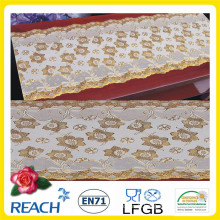 PVC Printed Long Lace Tischdecke Gold / Silber