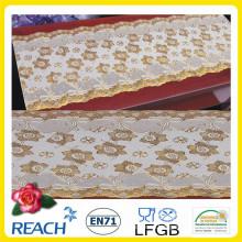 Mantel de encaje largo estampado de PVC dorado / plateado