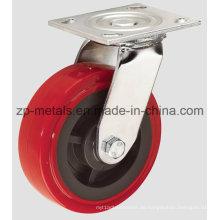 4 Zoll Heavy-Duty Red PU Lenkrolle Rad