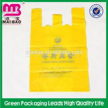 Biologisch abbaubares Supermarkt-Plastikt-shirt Taschen auf Rollenkundenspezifischem gedrucktem klarem C falten HDPE