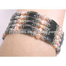 """Magnetic Pink Pearl Beaded Wrap Bracelets & Collier 36 """""""