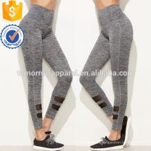 Leggings cinzentos do painel de malha da cintura alta OEM / ODM fabricação grossista moda feminina vestuário (TA7020L)