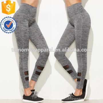 Las polainas grises del panel de la malla de la alta cintura OEM / ODM fabrican la ropa al por mayor de las mujeres de la manera (TA7020L)
