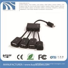 4 en 1 Adaptador del cable del anfitrión del eje de Micro USB OTG multi cable para Samsung / Tablet