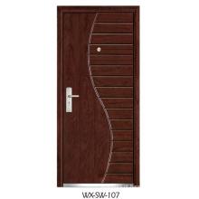 Fornecedor especializado Porta de aço em madeira (WX-SW-107)