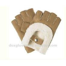 Lindo medio dedo guantes de cuero