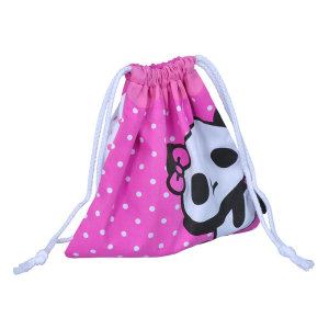 Customized panda Printed Muslin Drawstring Cotton Bag