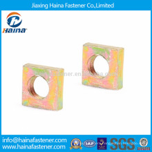 High quality color zinc plated carbon steel square thin nut