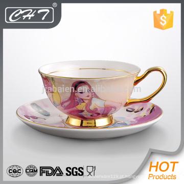 Nova coleção personalizada impressa copo de chá por atacado e pires