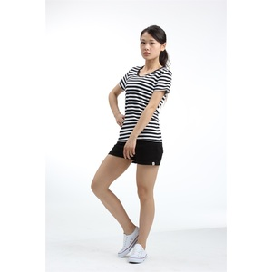 Cotton women black and white striped shirt