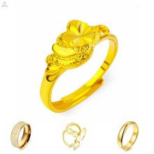 Anillo de oro de alta calidad sin piedras, anillo de oro con diseño de patrón de caracteres